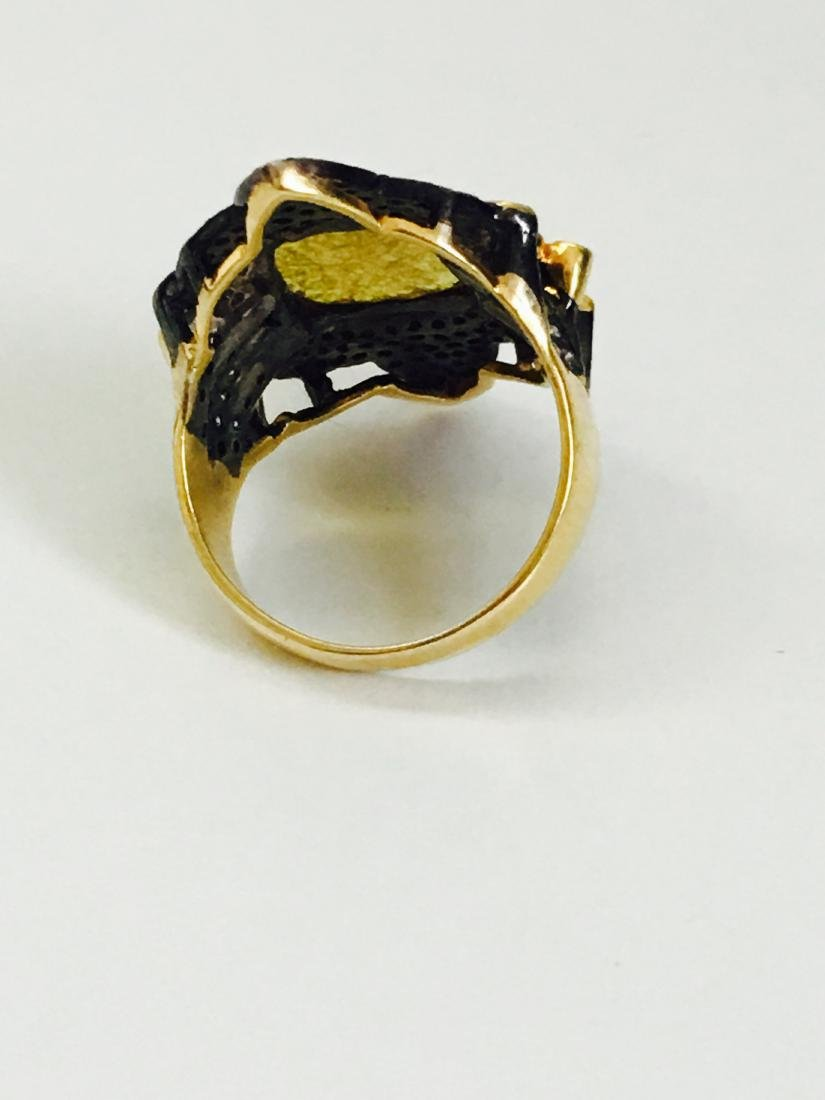 14K yellow and black gold, 3.25CT Antquie Diamond Ring - 5