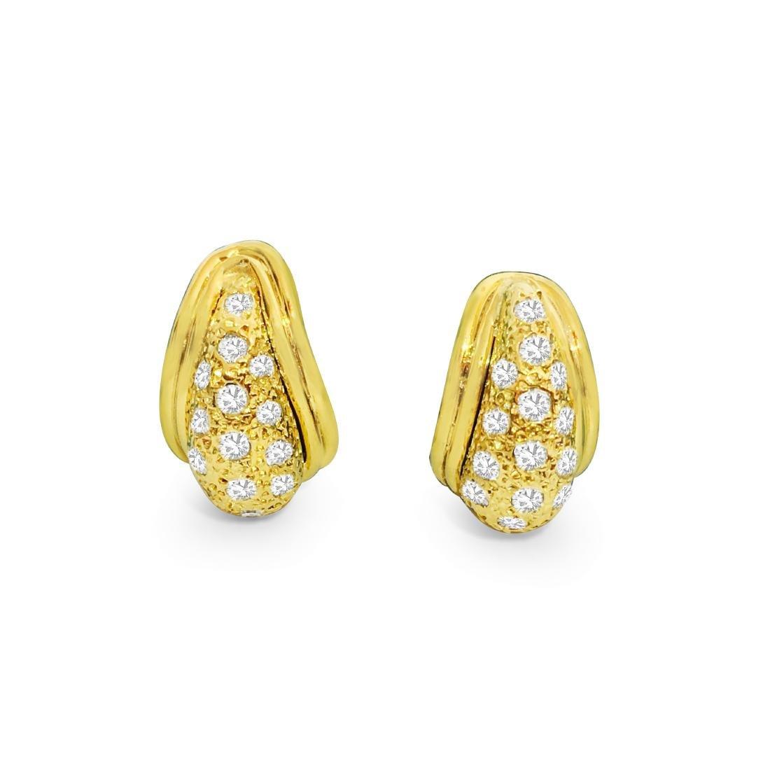 14K Yellow Gold, 1.00 CT Diamond Earrings