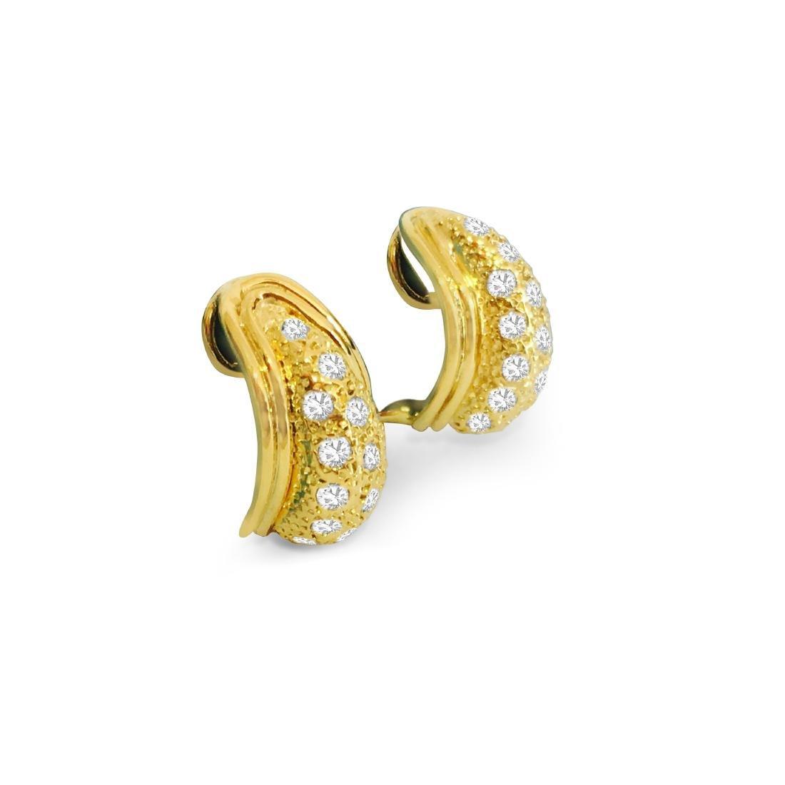 14K Yellow Gold, 1.00 CT Diamond Earrings - 2