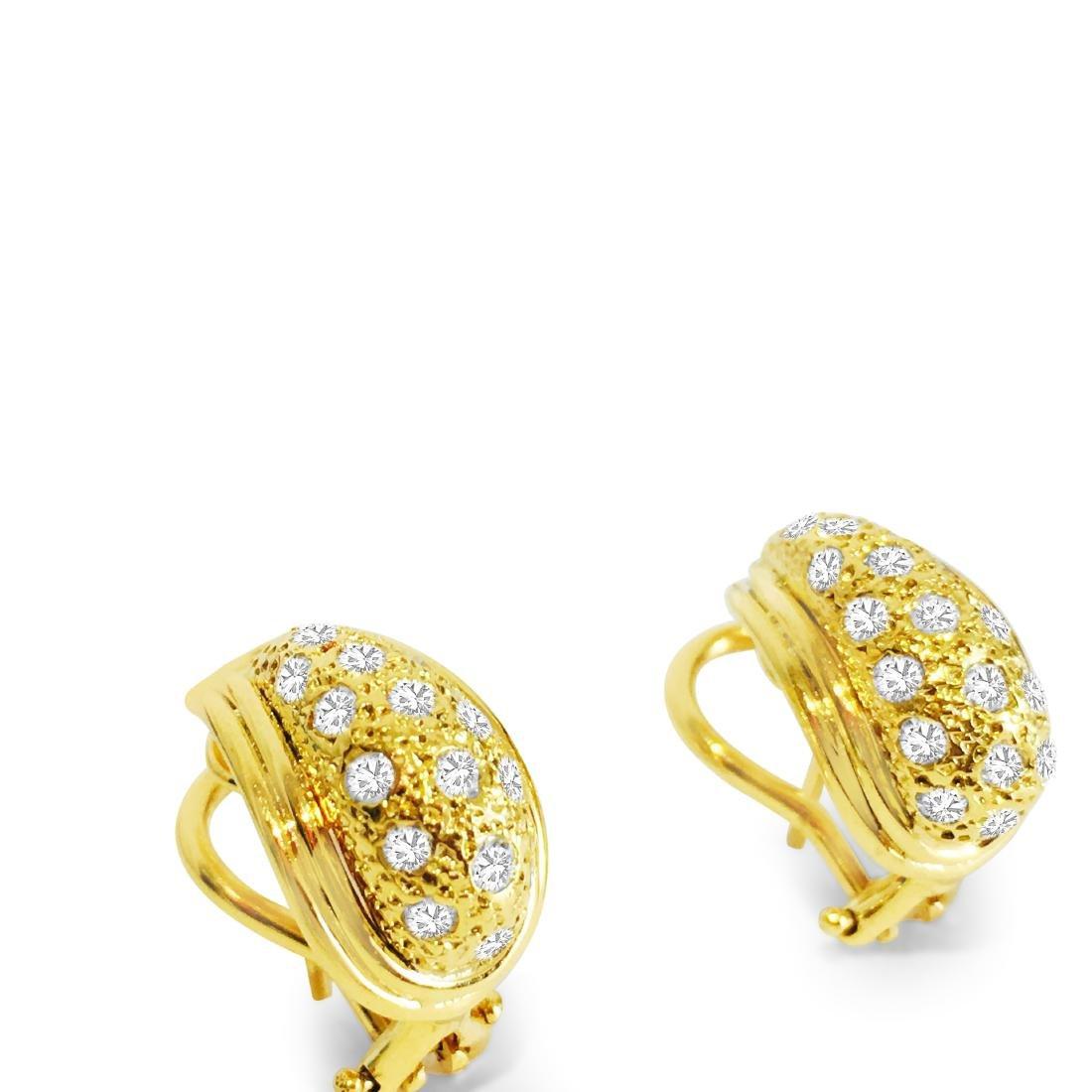 14K Yellow Gold, 1.00 CT Diamond Earrings - 3