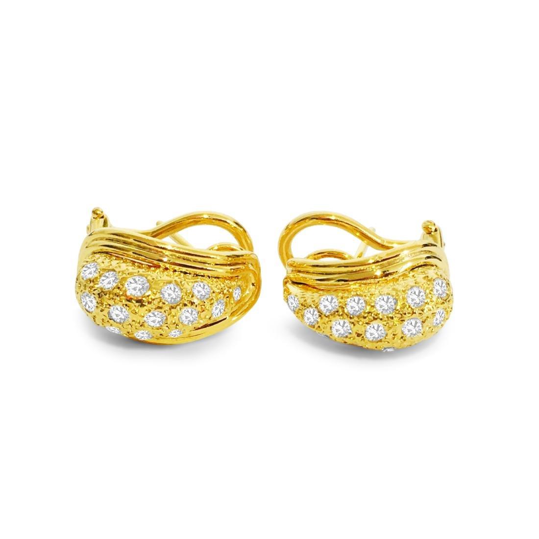 14K Yellow Gold, 1.00 CT Diamond Earrings - 4