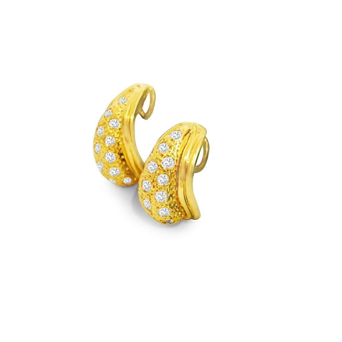 14K Yellow Gold, 1.00 CT Diamond Earrings - 5
