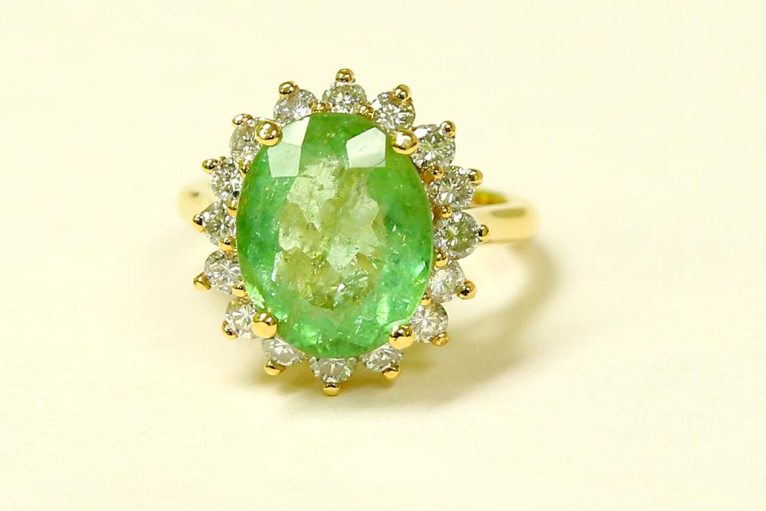 14k Yellow Gold Diamond Emerald Ring