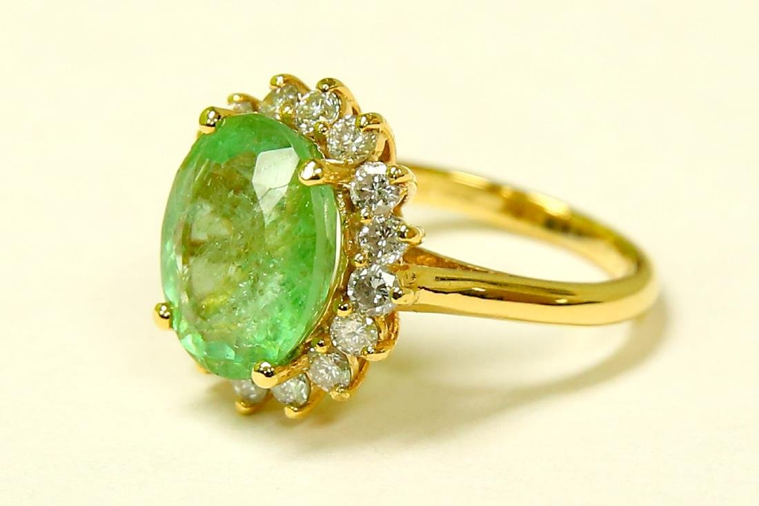 14k Yellow Gold Diamond Emerald Ring - 2