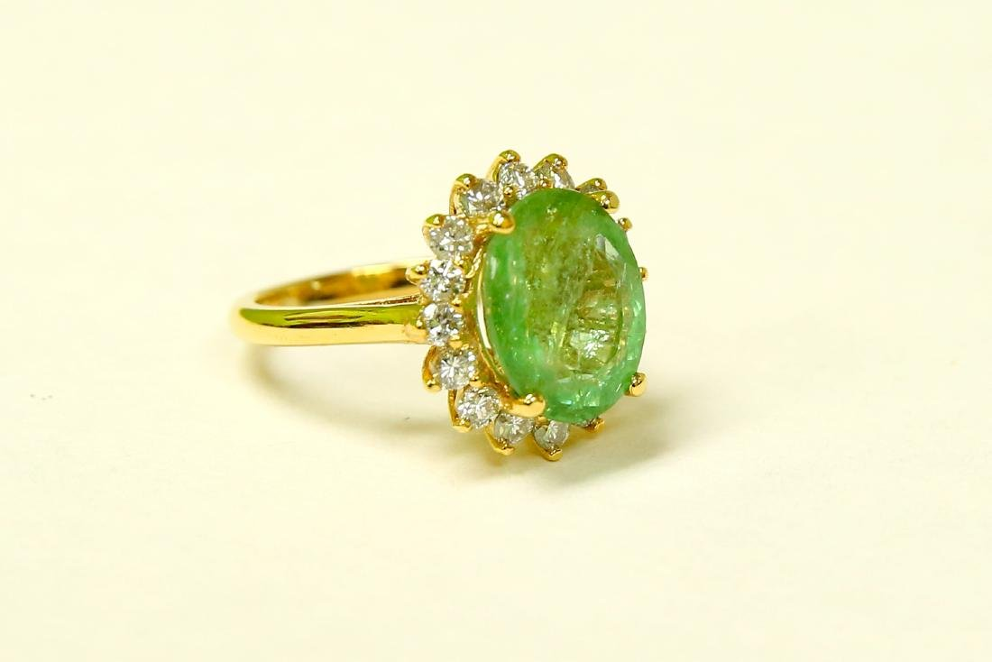 14k Yellow Gold Diamond Emerald Ring - 3