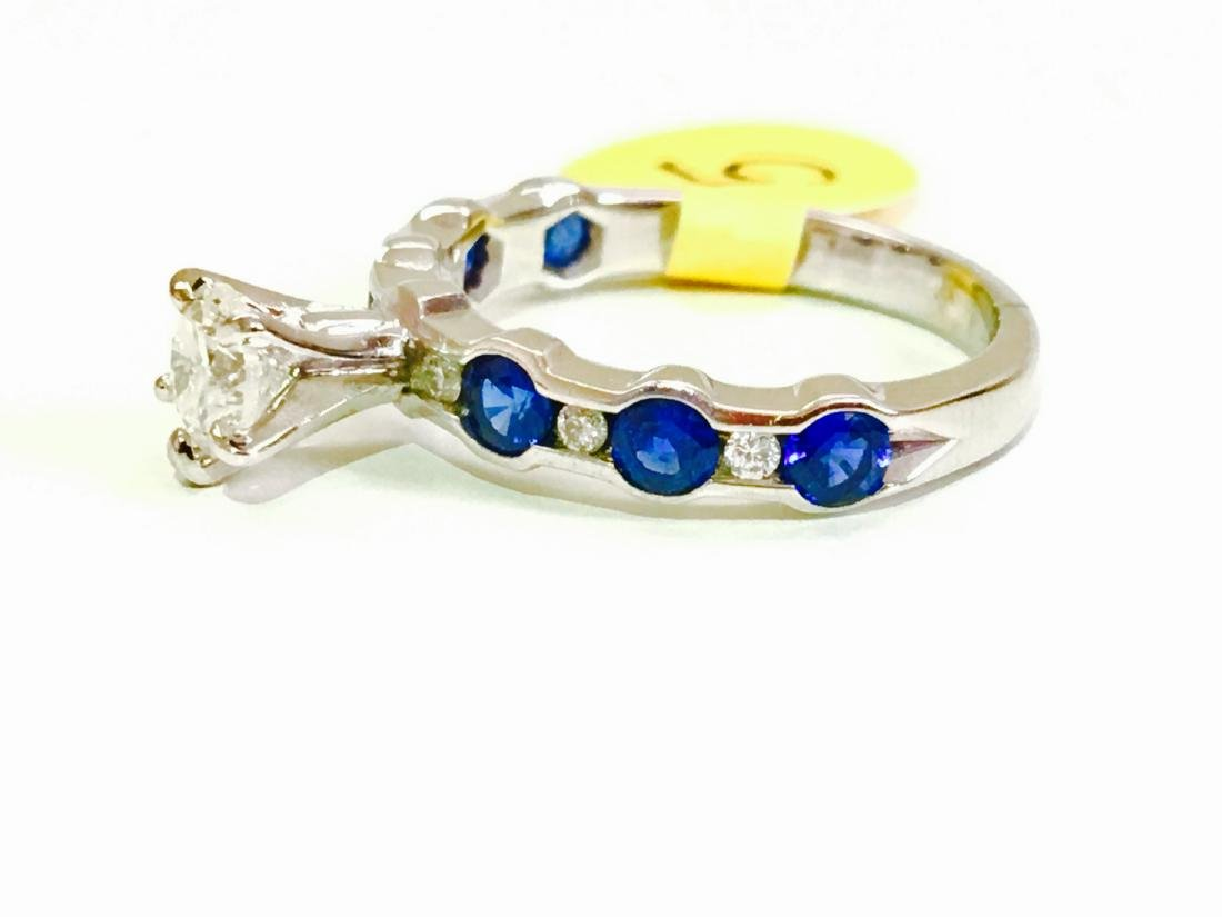 14K WHITE BLUE SAPPHIRE AND DIAMOND ENGAGEMENT RING - 3
