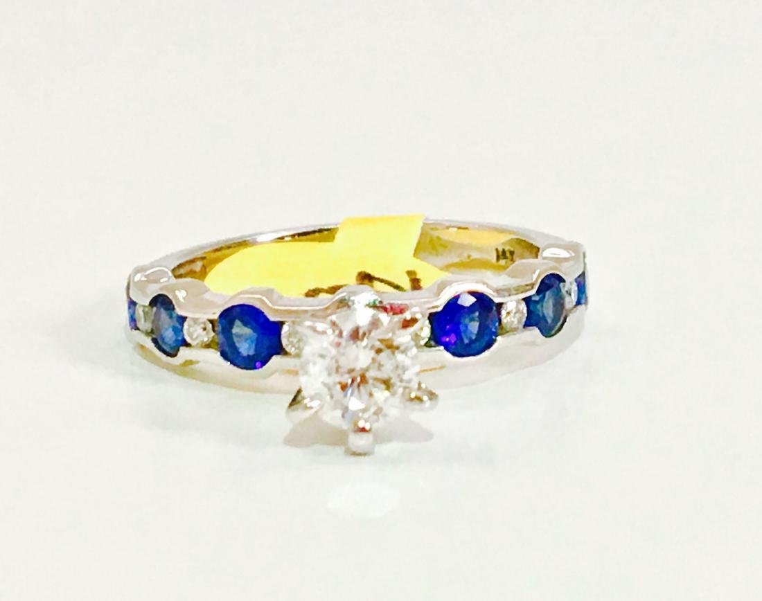 14K WHITE BLUE SAPPHIRE AND DIAMOND ENGAGEMENT RING - 4