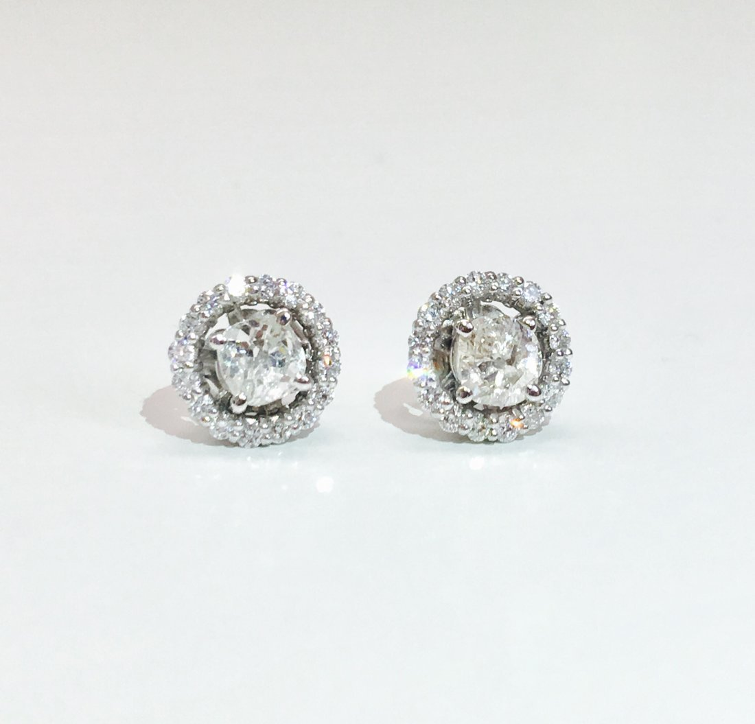 14K Gold, 1.30 TCW old mine cut diamond stud earrings