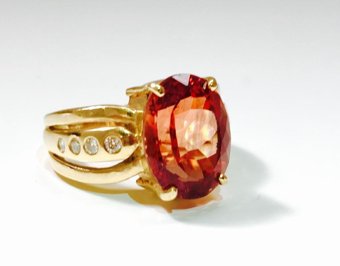 14k Gold, 5.00 CT Hessonite Garnet and Diamond Ring. - 2