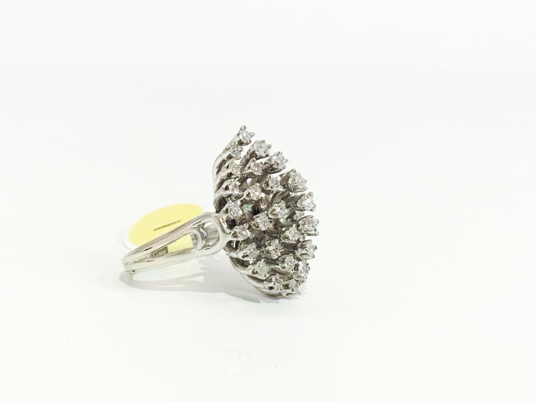 14k Gold & White Diamond Cocktail Ring - 2