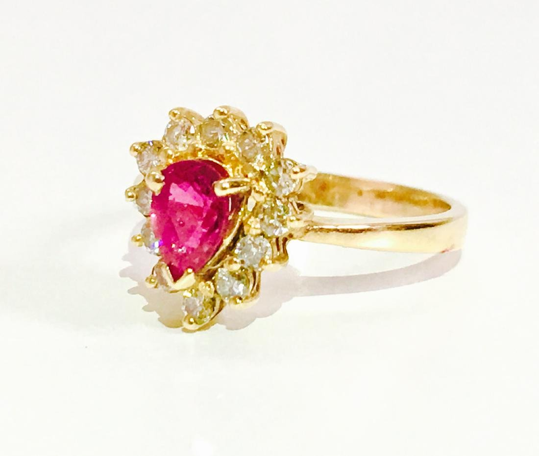 14k Yellow Gold RUBY and Diamond Ring - 3