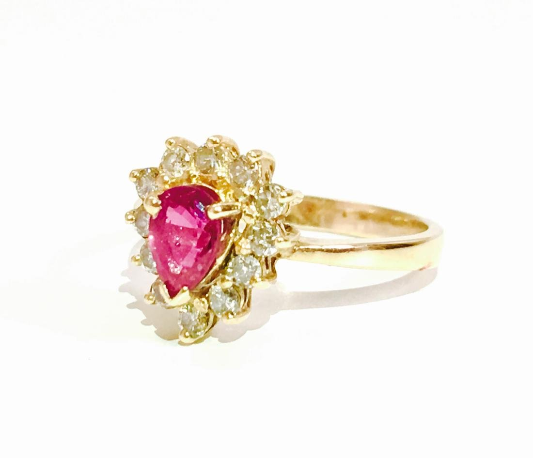 14k Yellow Gold RUBY and Diamond Ring - 4