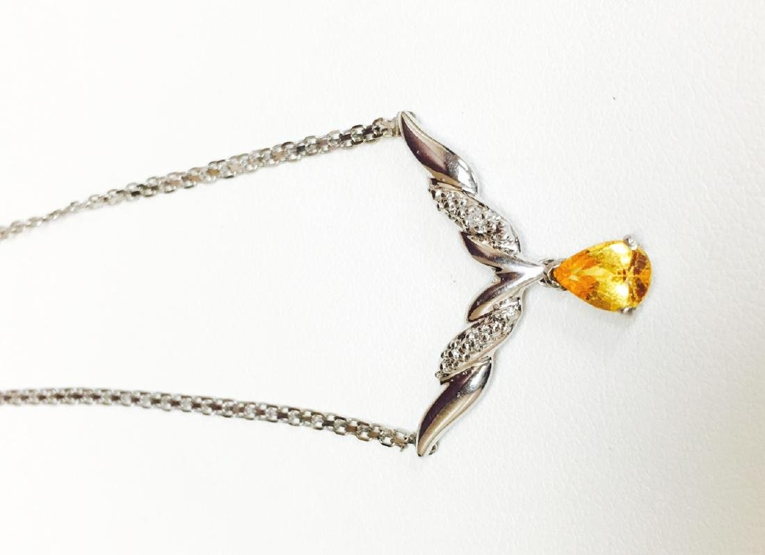 14K Gold, Yellow Sapphire and White Diamond Necklace - 2