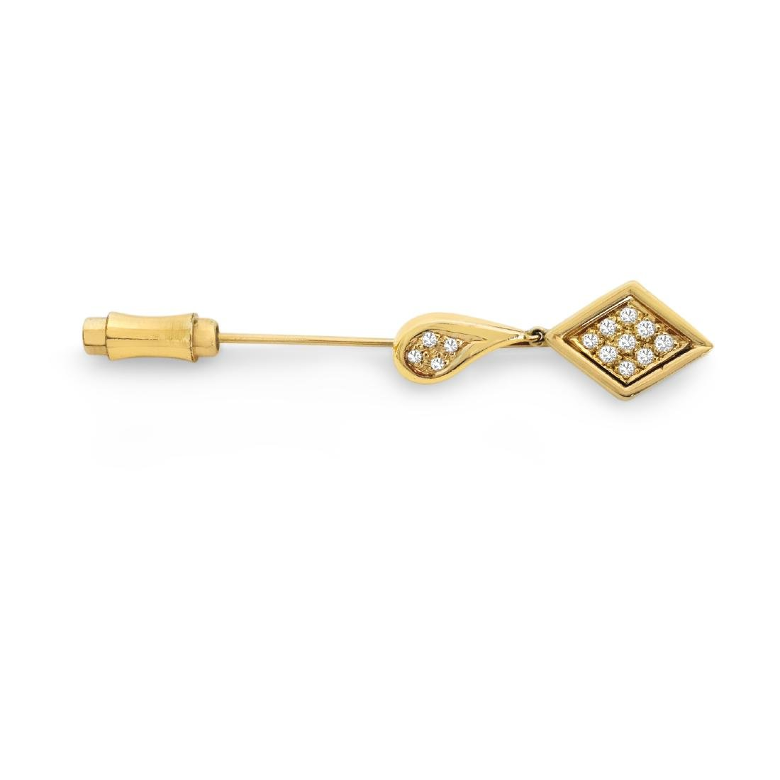Vintage/Ancient Collectible 14K Gold and Diamond Pin - 2
