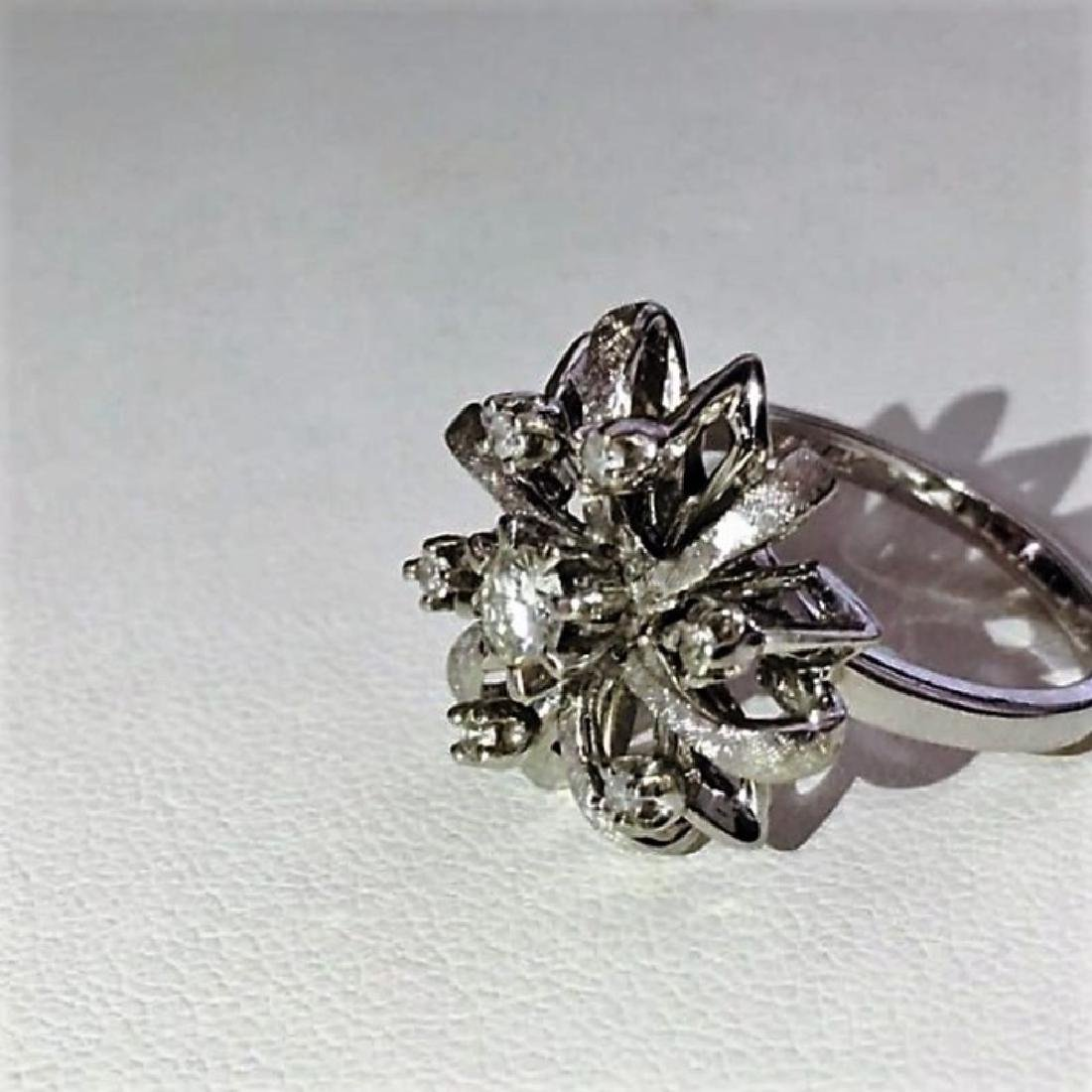 14K White Gold Cocktail Diamond Ring - 3