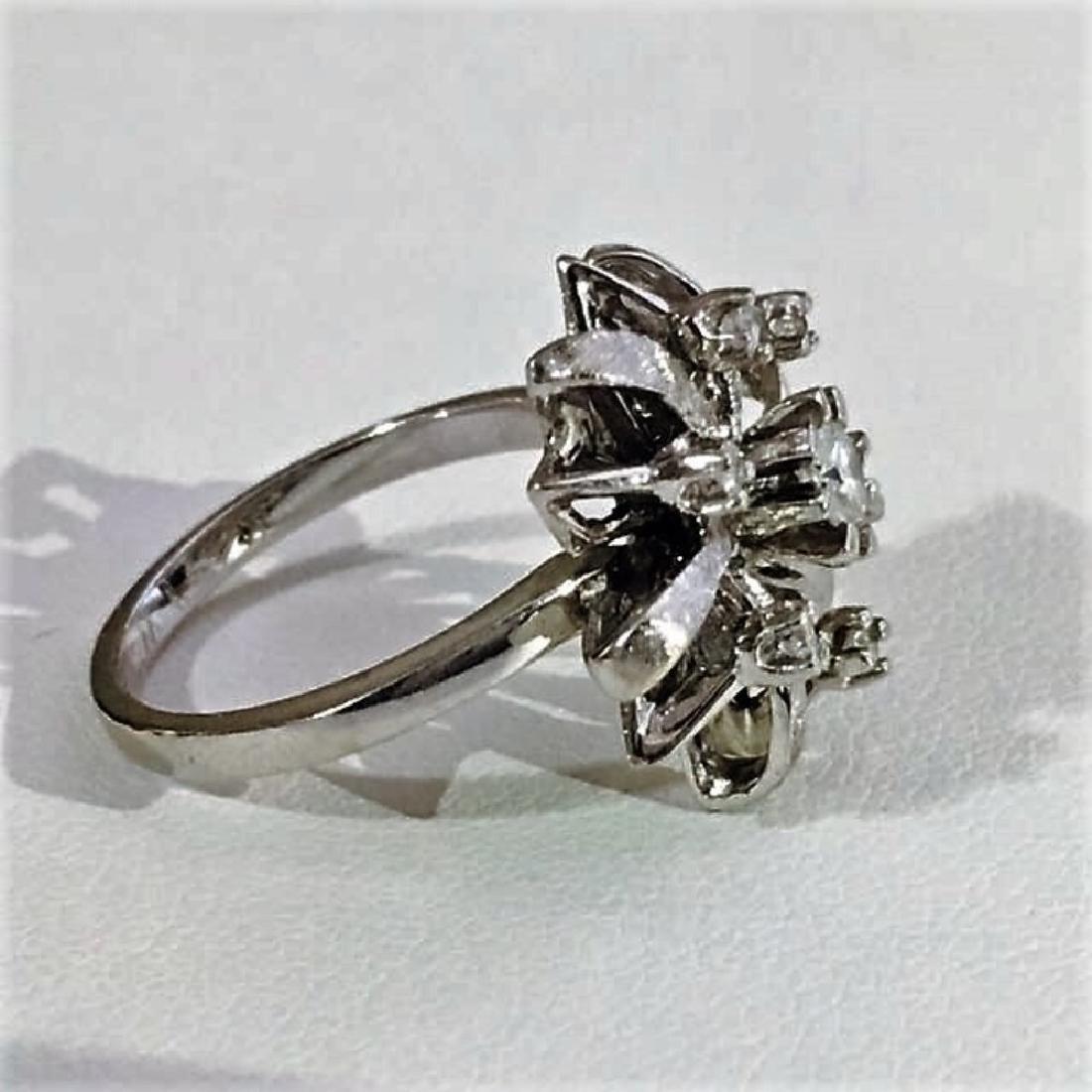 14K White Gold Cocktail Diamond Ring - 4