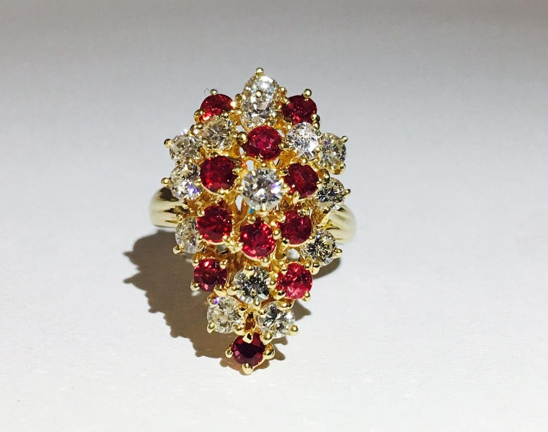 14K Gold, Cocktail RUBY& DIAMOND Ring - 4