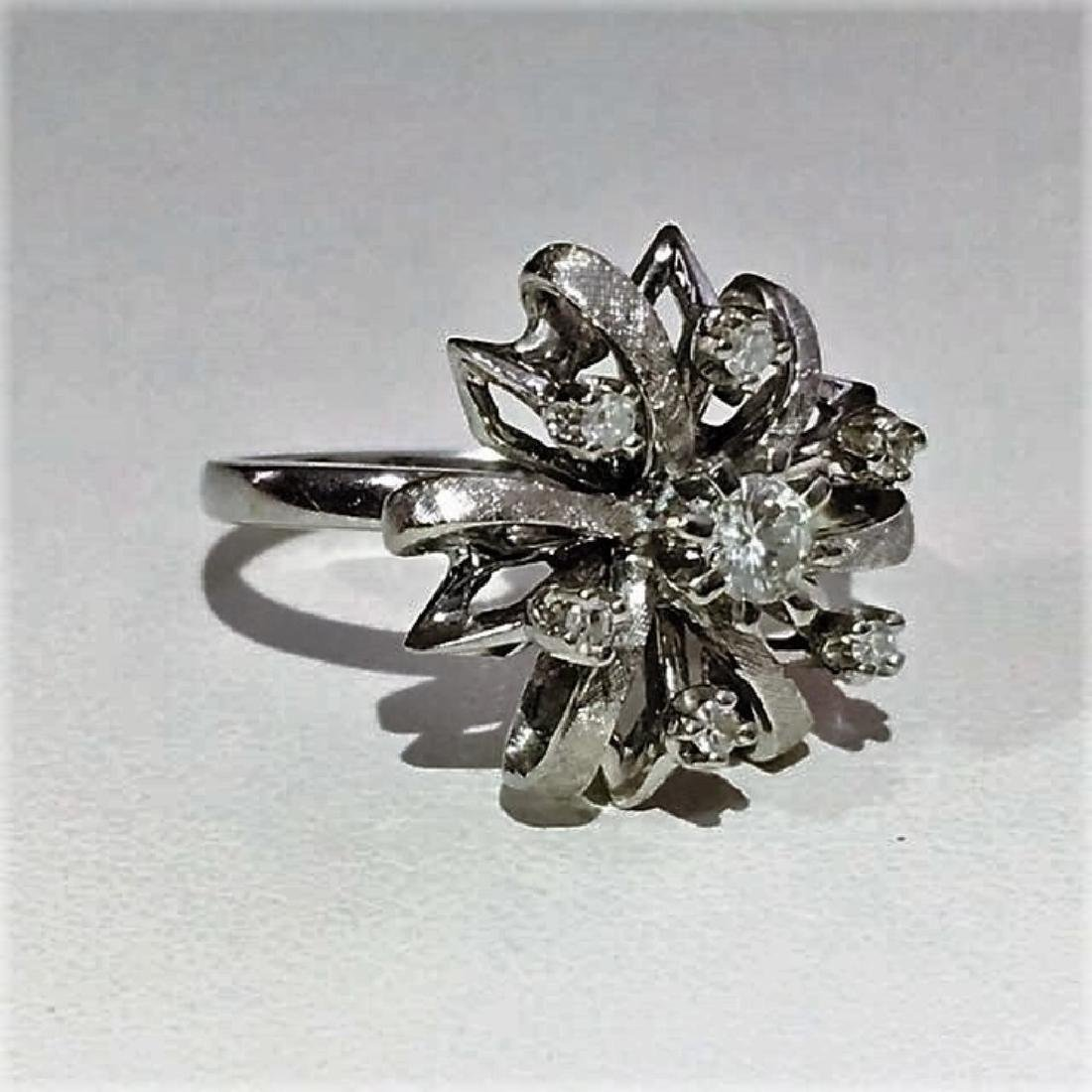 14K White Gold Cocktail Diamond Ring - 2