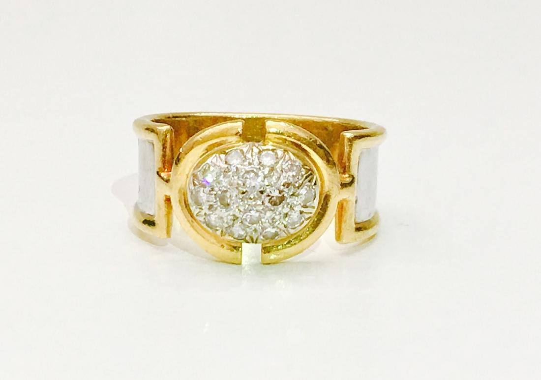 18K Two Tone Vintage Diamond Ring