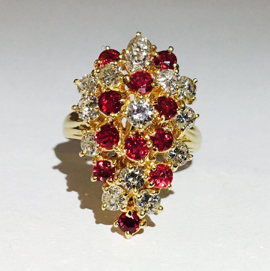 14K Gold, Cocktail RUBY& DIAMOND Ring