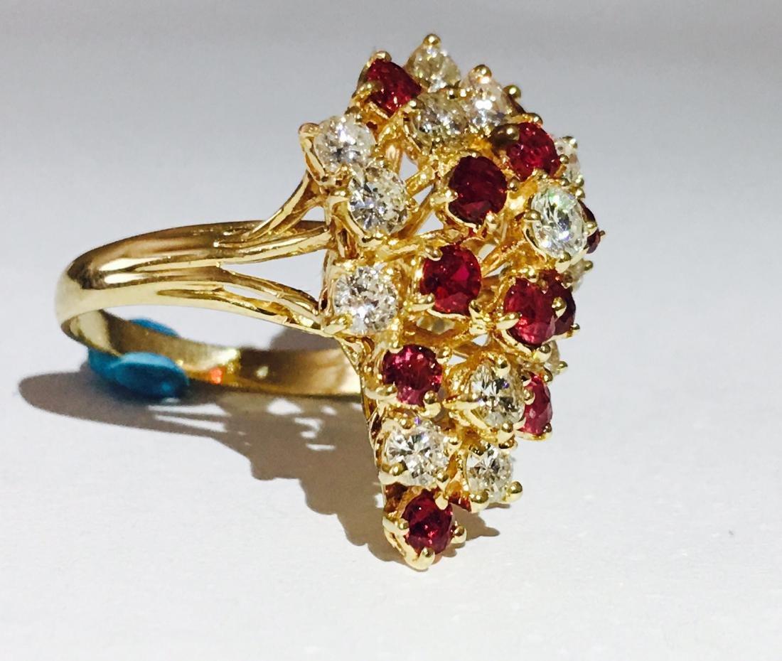 14K Gold, Cocktail RUBY& DIAMOND Ring - 2