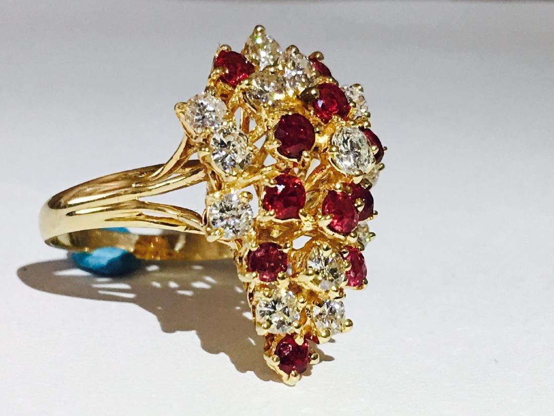14K Gold, Cocktail RUBY& DIAMOND Ring - 3