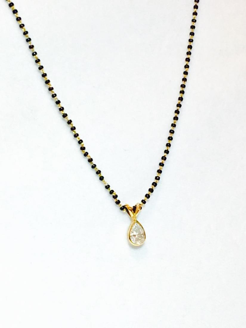 22K Gold, Pear Diamond Pendant & Mangalsutra Necklace - 2