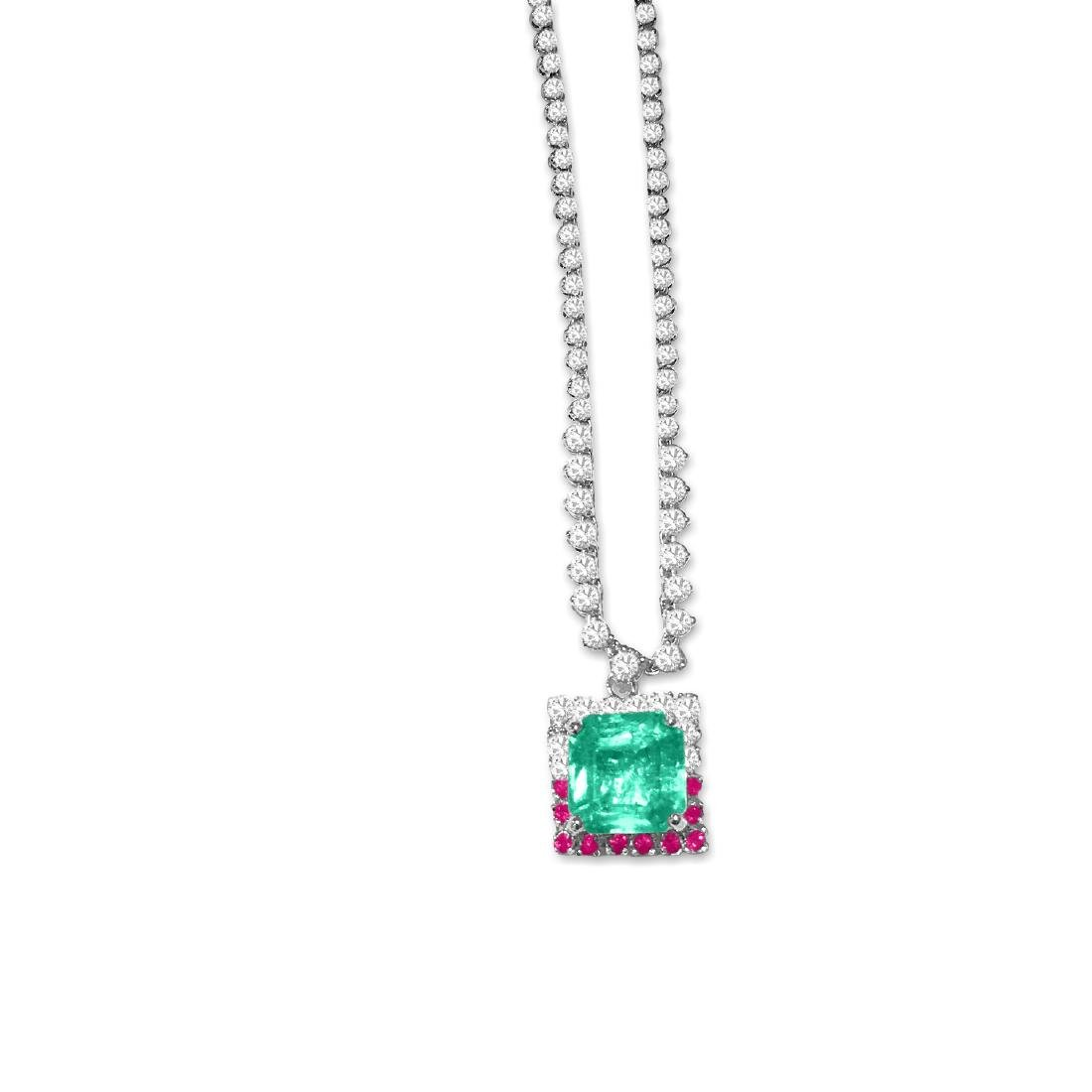 14K Gold; Emerald, Ruby and Diamond Necklace. $40,000
