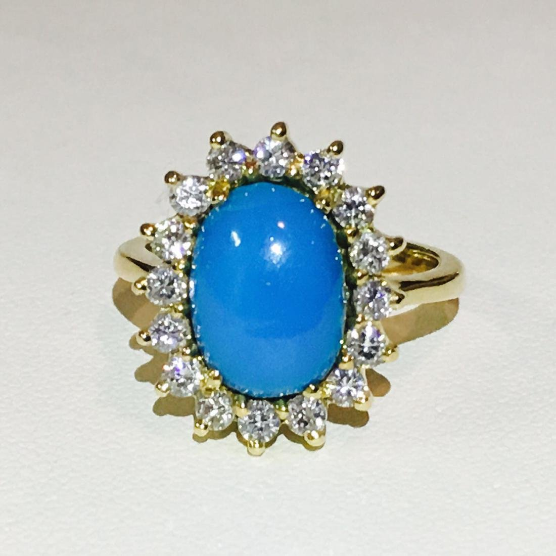18K Yellow Gold: Turquoise and VS clarity Diamond Ring