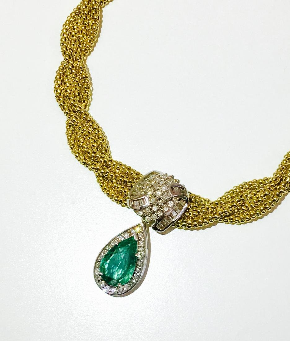 14k Yellow Gold, Emerald & Diamond Necklace *CERTIFIED*