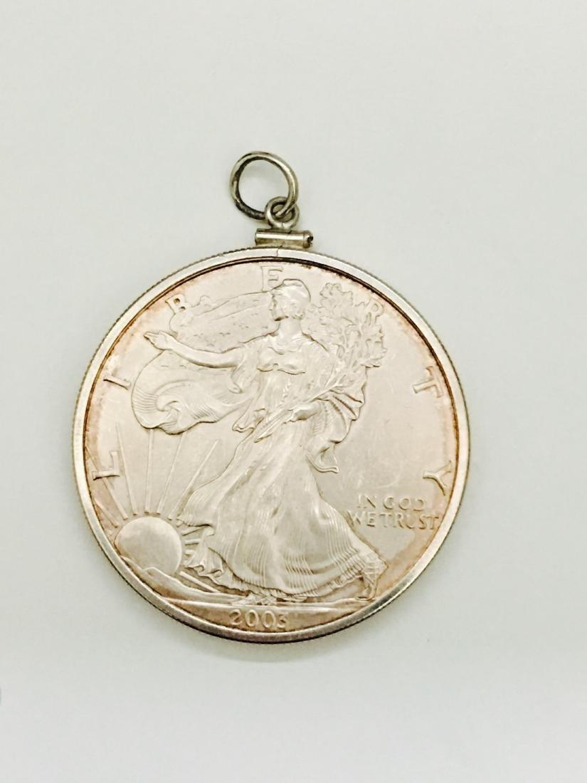 Silver Dollar Coin  AMERICAN EAGLE Pendant