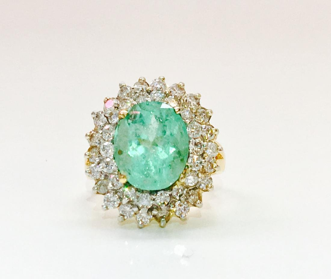 14k Gold COLOMBIAN Emerald & Diamond Cocktail Ring