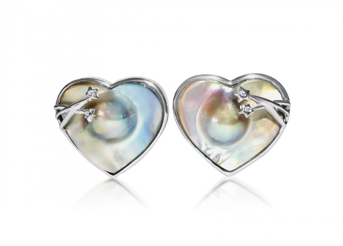 Mother of Pearl & Diamond in Sterling Silver Earrings.