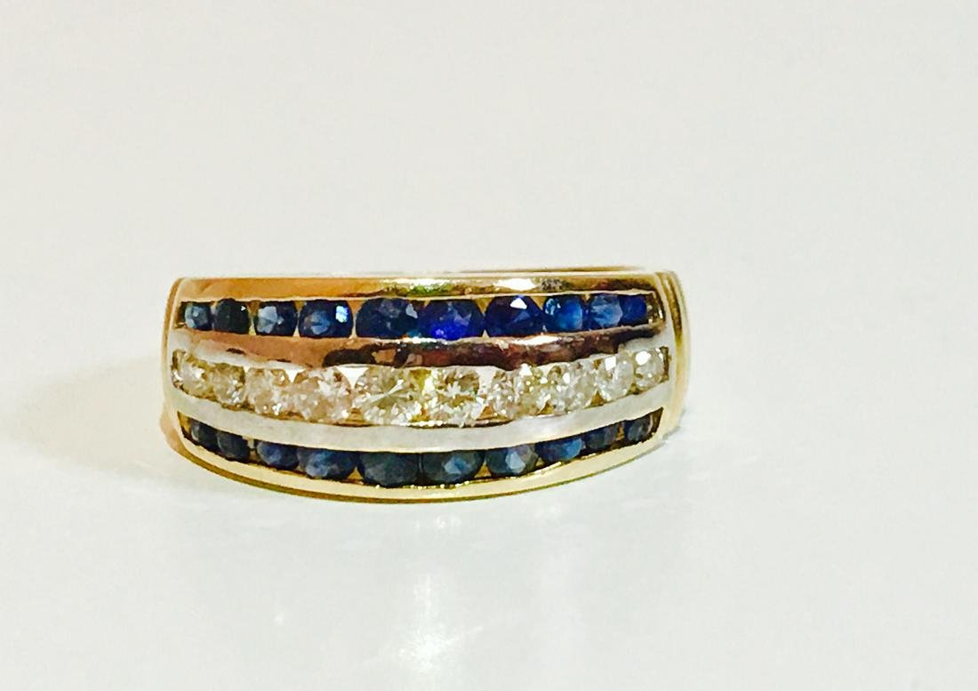 14K Gold, 1.10 Carat Diamond and Blue Sapphire Ring