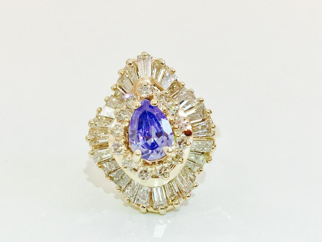 14K Gold, 3.00 CT Diamond & Tanzanite Ring