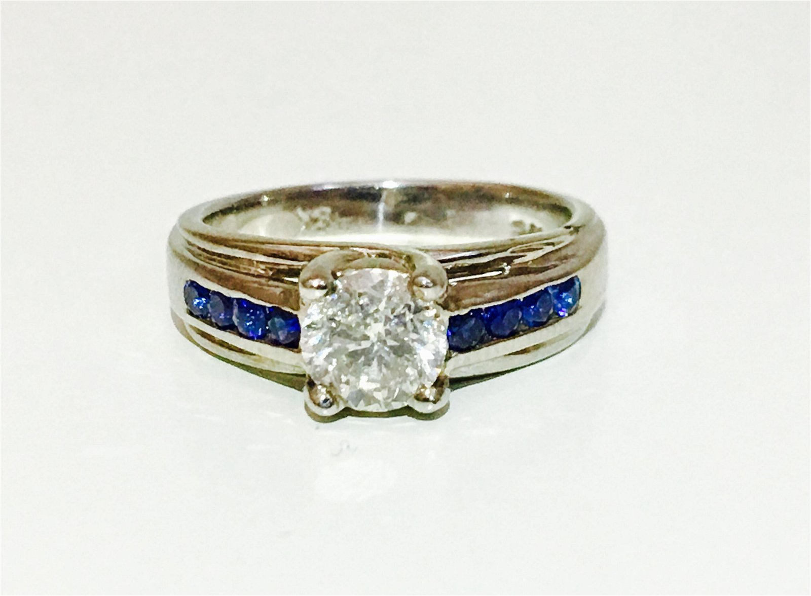 18K, 1.70 Carat Diamond and Blue Sapphire Ring