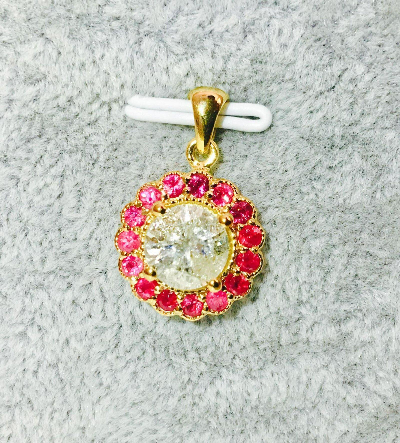 (GIA) 14K Yellow Gold, Diamond and Burma Ruby Pendant