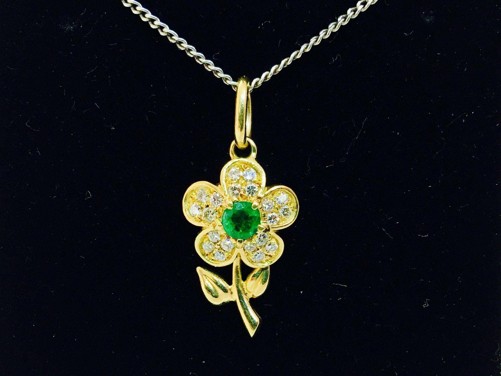 18K Gold. 0.75 Carat Emerald and Diamond Flower Pendant