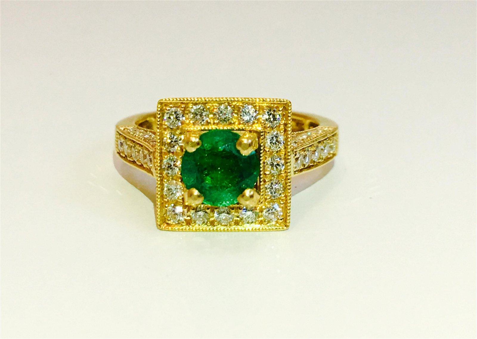 3.00 carat Emerald & Diamond Ring in 18K. Vintage Ring