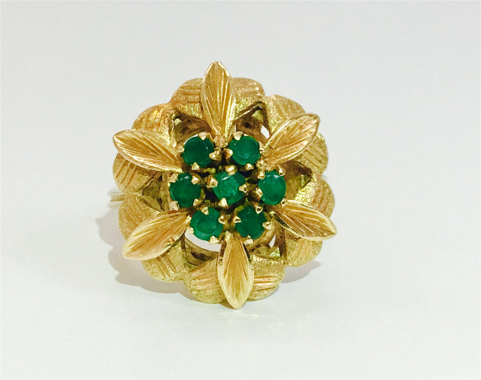 Colombian Emeralds in 18K yellow gold ring. *VINTAGE*