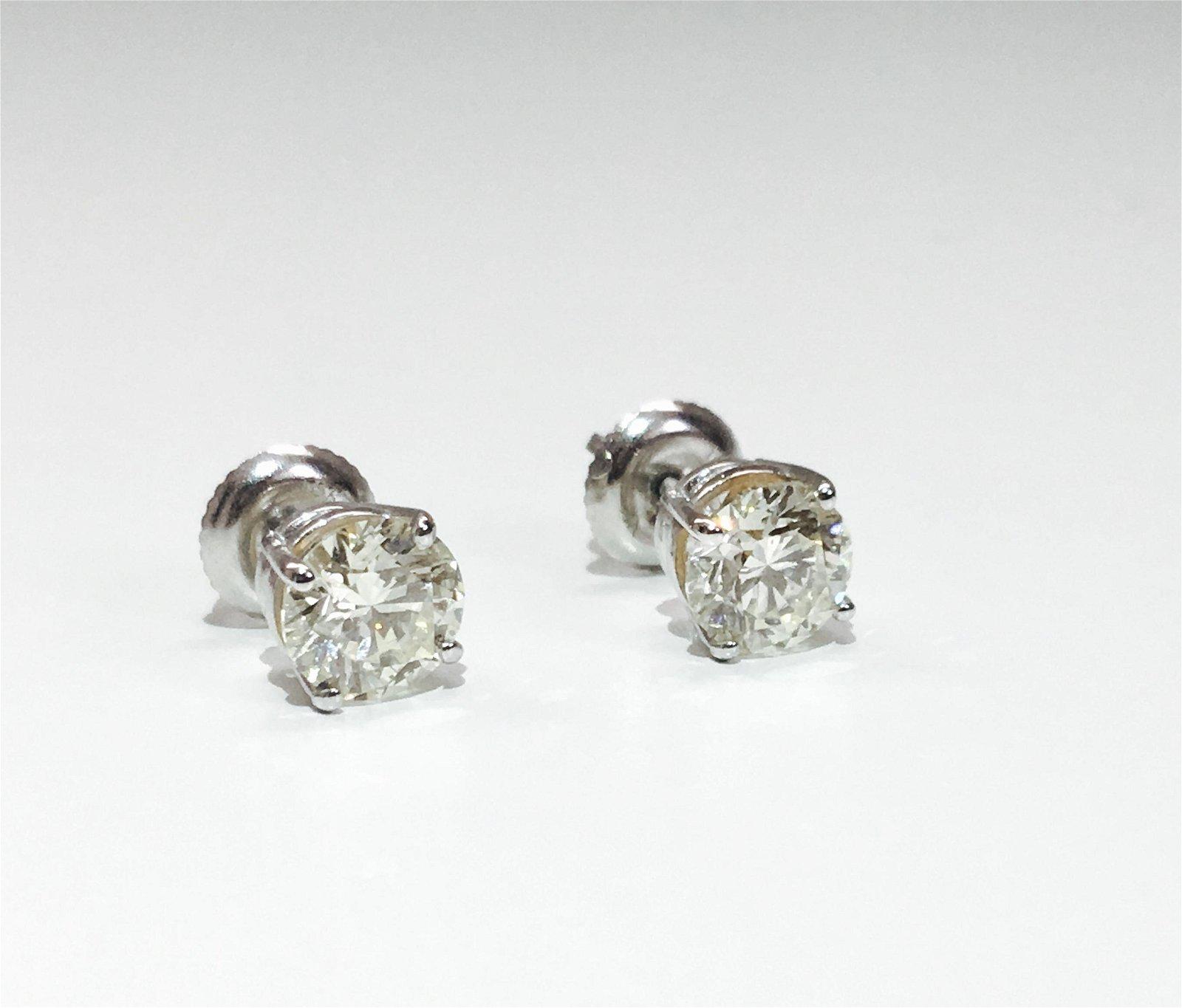 2.00 Carat Diamonds in 14K Gold earrings. Certified
