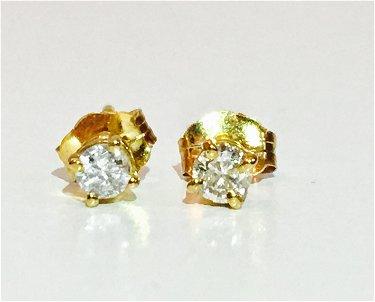 14k Yellow Gold 1 4 Carat Diamond Studs