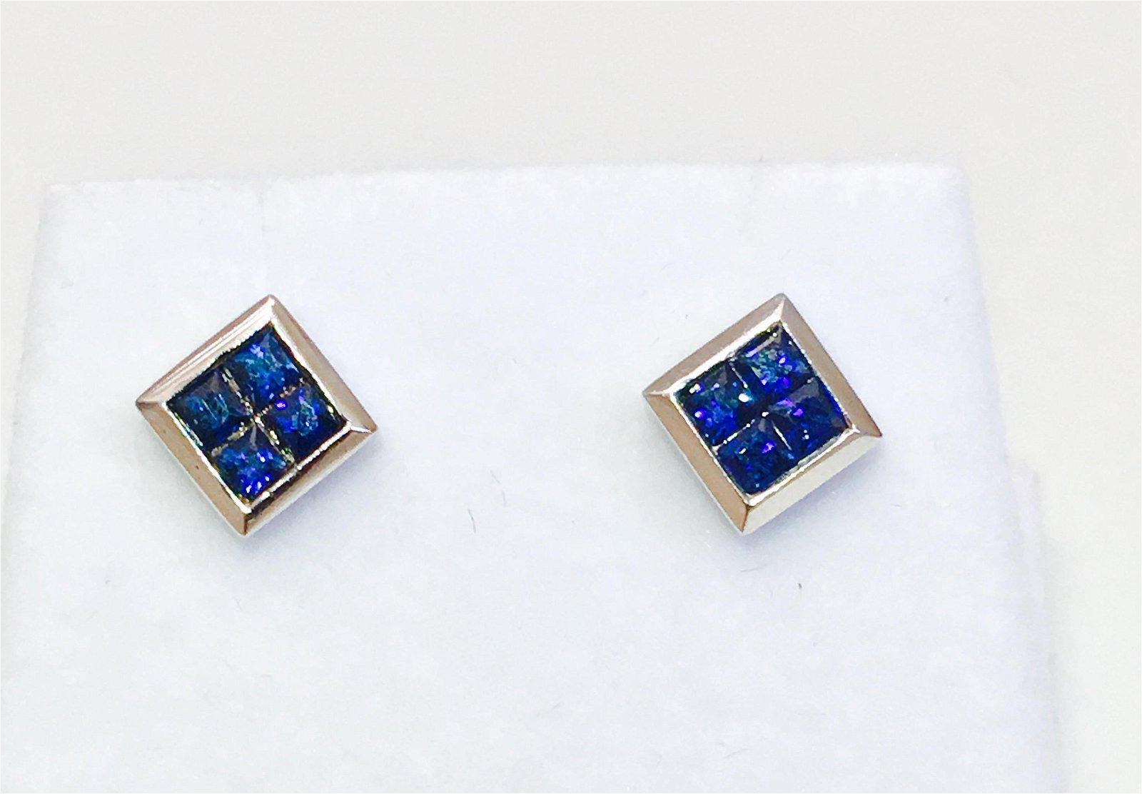 14K gold. 0.80 CT Blue Sapphire Studs Earrings