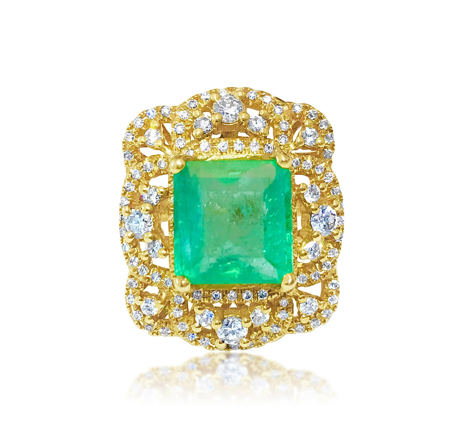 18k Gold Vintage 6 ct Emerald Diamond Cocktail Ring