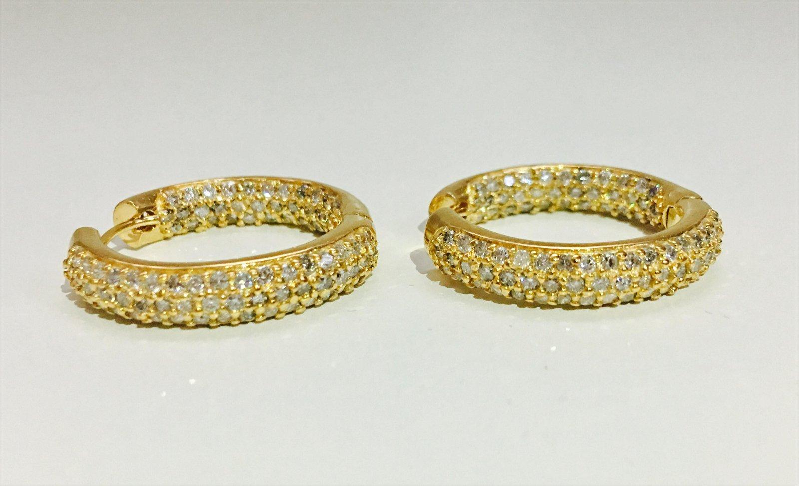14K gold, 2.50CT VS - F Diamond Earrings/Hoops