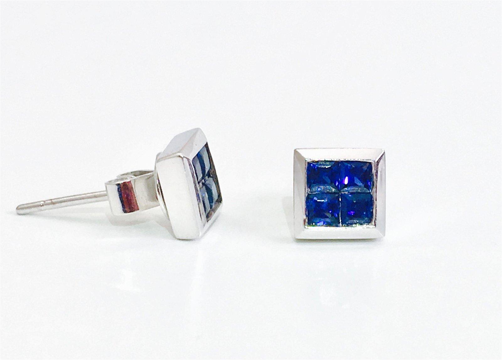14K gold. 0.80 CT Blue Sapphire Studs. 100% natural
