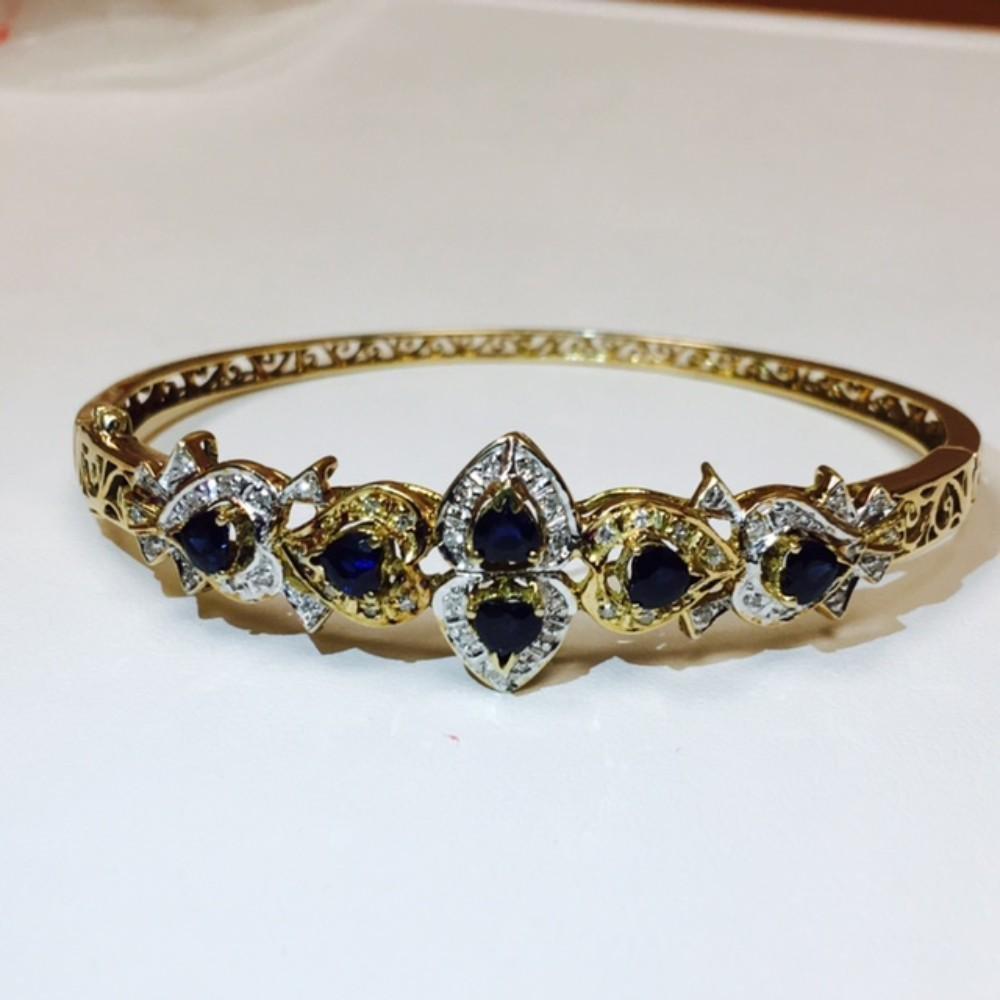 14k Gold Diamond & Blue Sapphire Bracelet / BANGLE