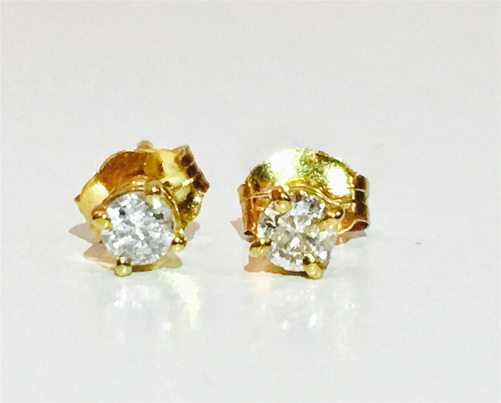 14k Yellow Gold, 1/4 Carat Diamond Studs.