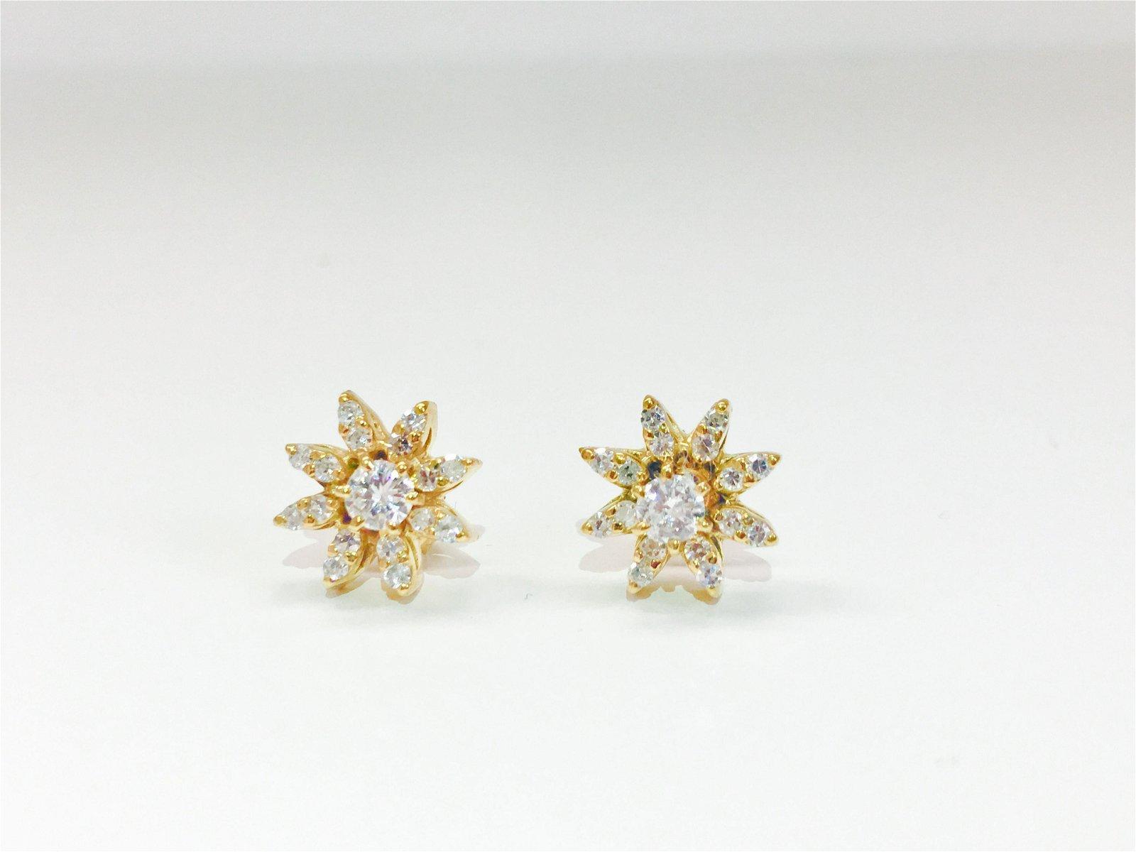 Infinite Brilliance, 1.00 CT Diamond & Gold Star Studs