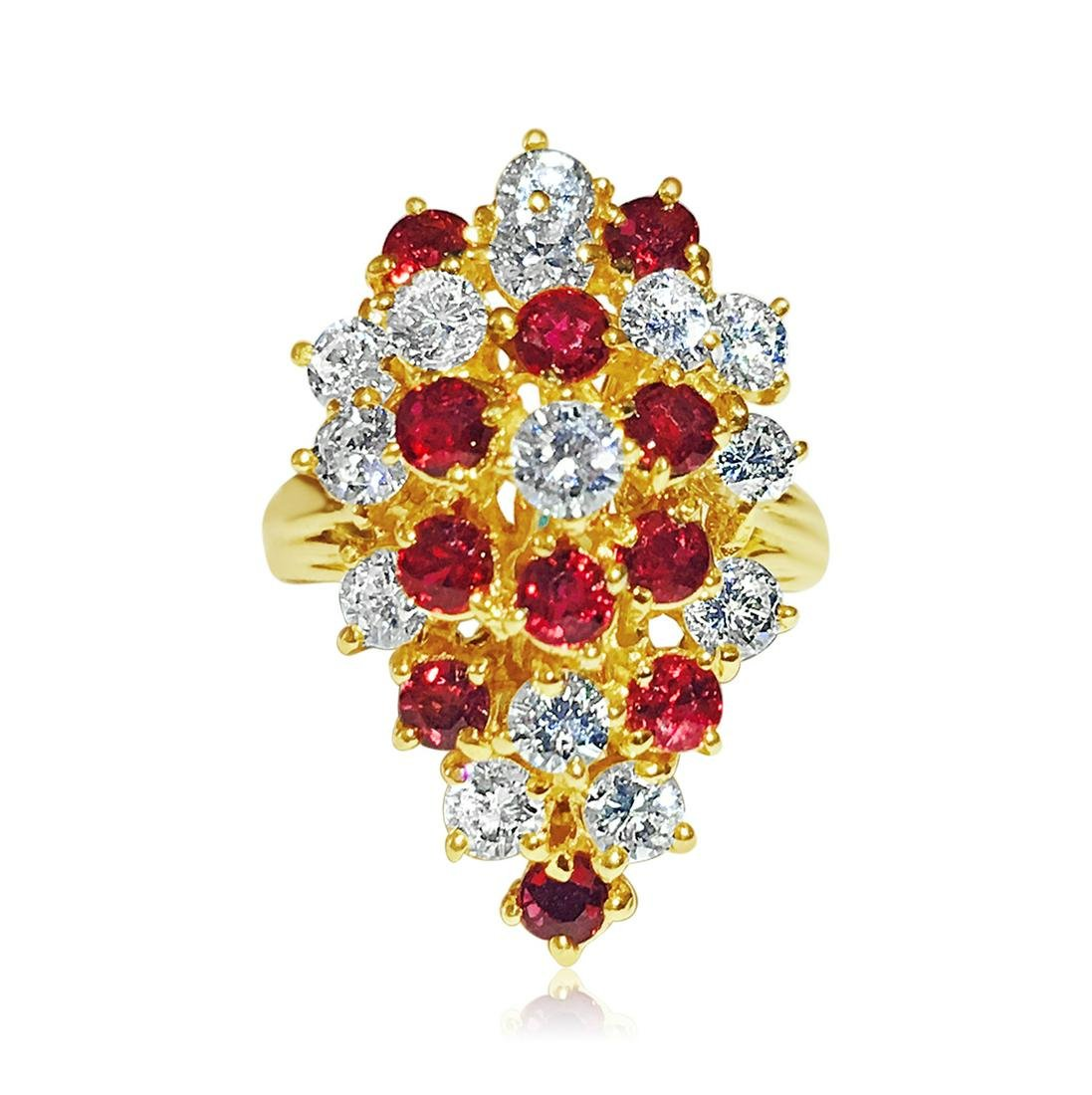 14K Gold, 3.50 Carat Diamond & Ruby Cocktail Ring